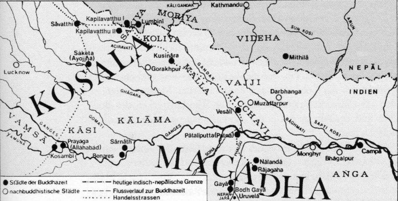 das wandergebiet des buddha erstreckte sich ber ein areal von 600 x 300 km ausdehnung der westlichste punkt war kosamb an der yamun 35 km sdwestlich